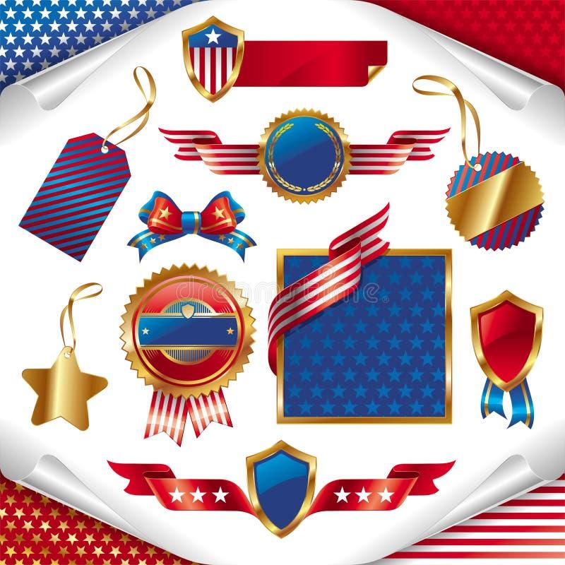 Signes patriotiques, étiquettes, étiquettes et emblème des Etats-Unis illustration de vecteur