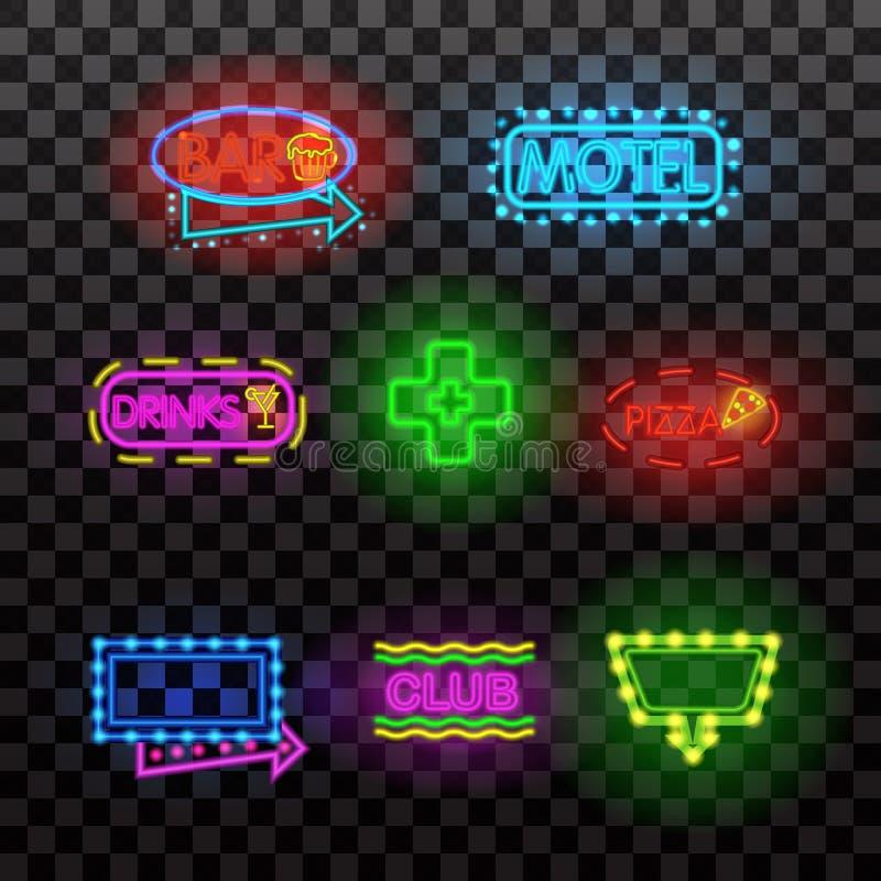 Signes rougeoyants de lampe au néon illuminés sur le fond transparent Illustration de vecteur d'éléments de conception illustration de vecteur