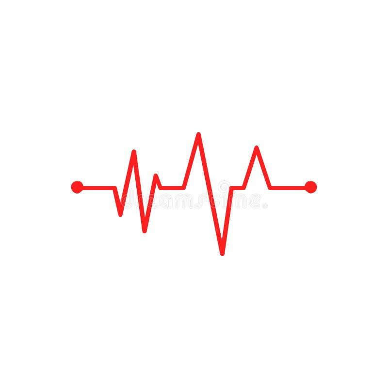 Signes rouges de médecine de cardiogramme de Hearbeat illustration stock