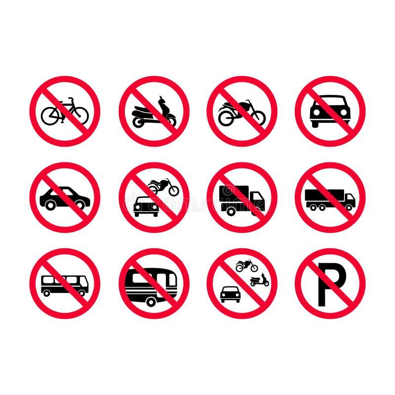 Signes rouges de véhicules d'interdiction Aucun véhicules à moteur, aucune bicyclettes, aucune automobiles Camions, autobus, camp illustration stock