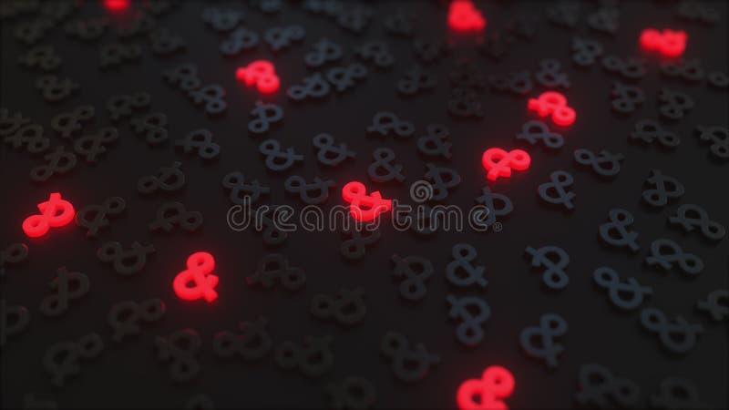 Signes rouges rougeoyants d'esperluète parmi des symboles noirs Rendu 3d conceptuel illustration de vecteur