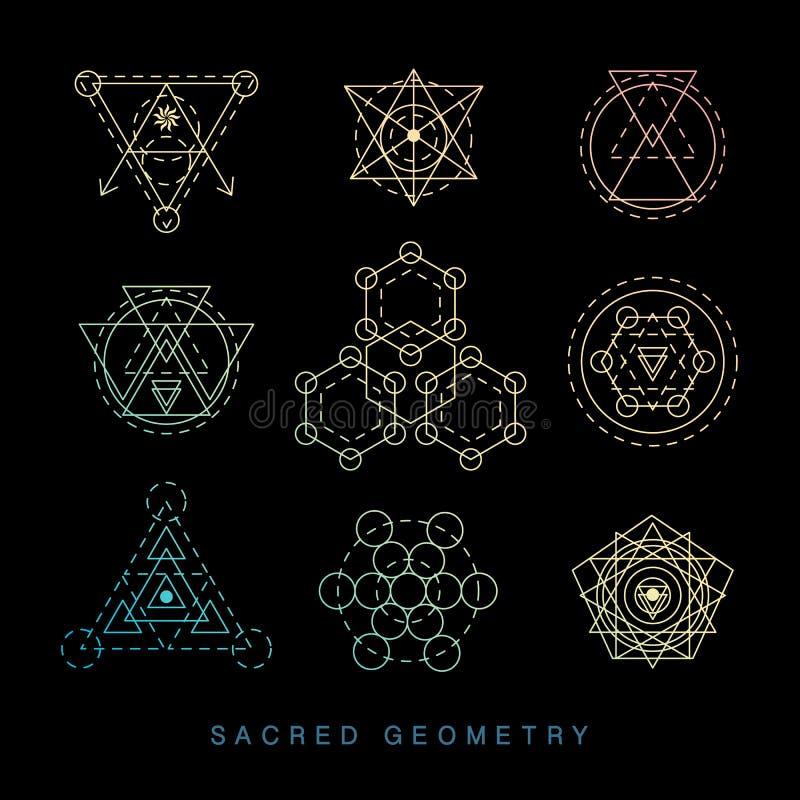 Signes sacrés de la géométrie réglés Art moderne linéaire illustration stock