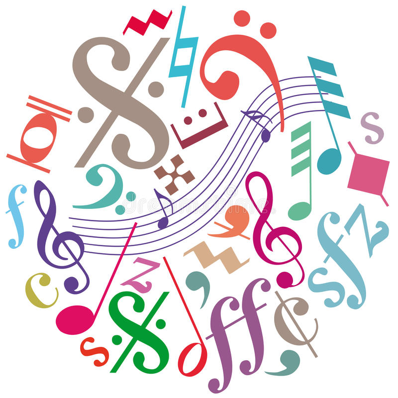 Signes, symboles et notes de musique illustration stock