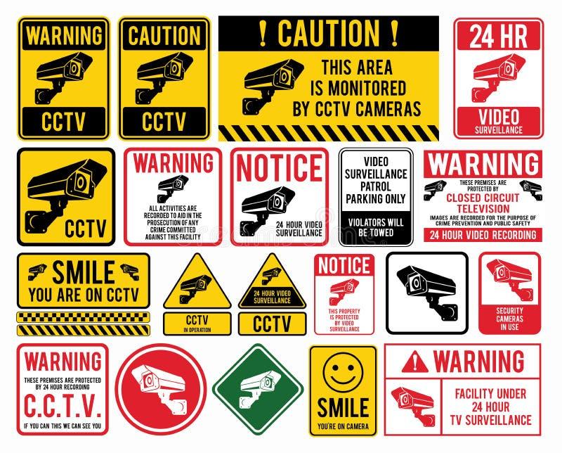 Signes visuels de surveillance Télévision en circuit fermé illustration stock