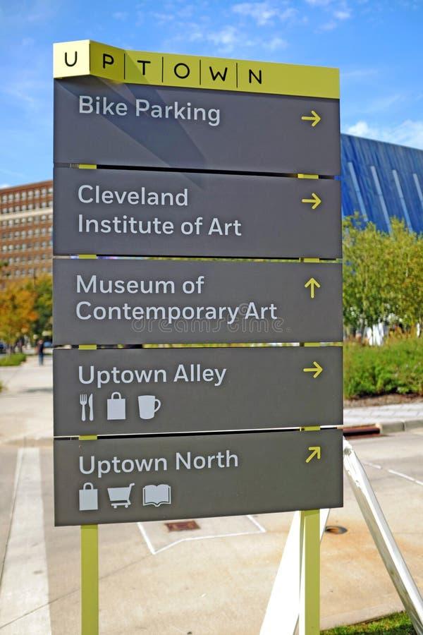 Signez dedans le secteur de la ville haute du cercle d'université à Cleveland, Ohio, Etats-Unis photographie stock libre de droits