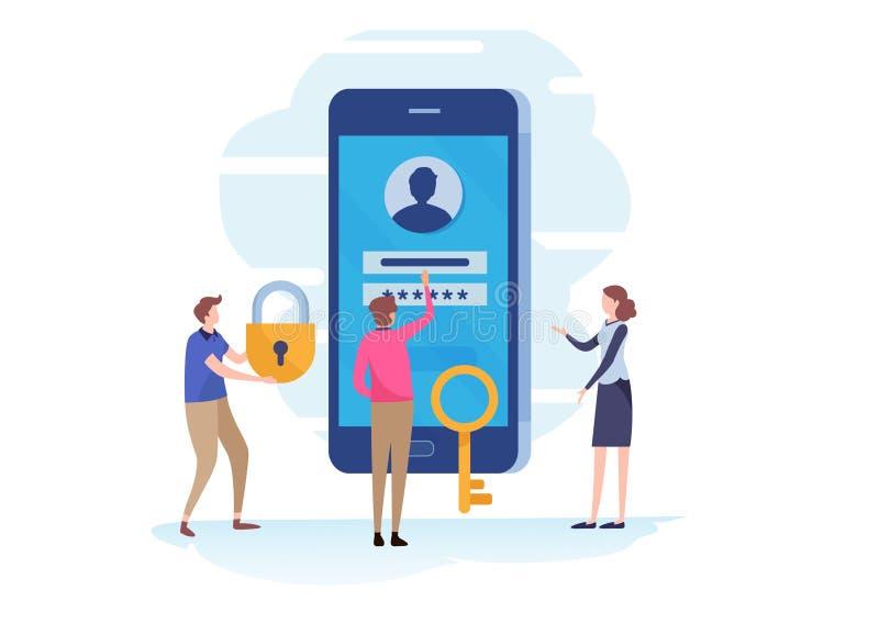 Signez dedans, page d'ouverture de compte sur l'écran de smartphone champ de mot de passe, protection, enregistrement, sécurité B illustration stock