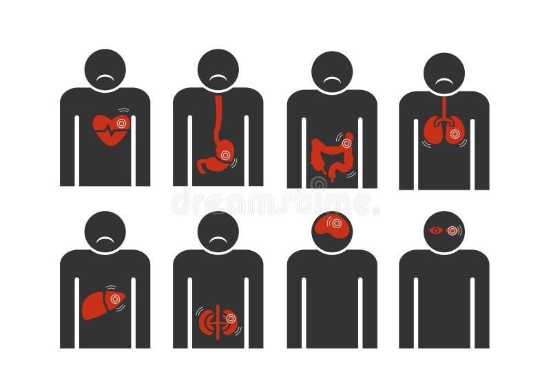 Signez l'humain avec le coeur, le foie, gastrique, intestinal, abrégé sur affection pulmonaire sur le fond blanc illustration libre de droits