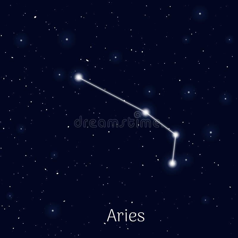 Signez le Bélier de zodiaque, fond de ciel nocturne, réaliste illustration stock