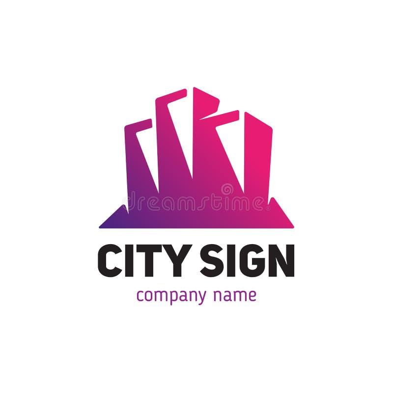 Signez le calibre sous forme de silhouette d'une petite ville illustration de vecteur