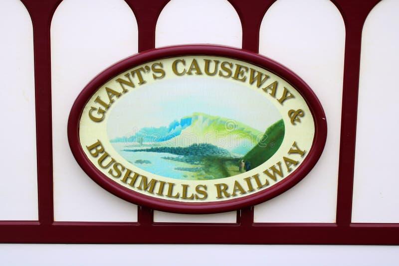 Signez le conseil et le logo pour le chemin de fer de mesure étroite photos libres de droits