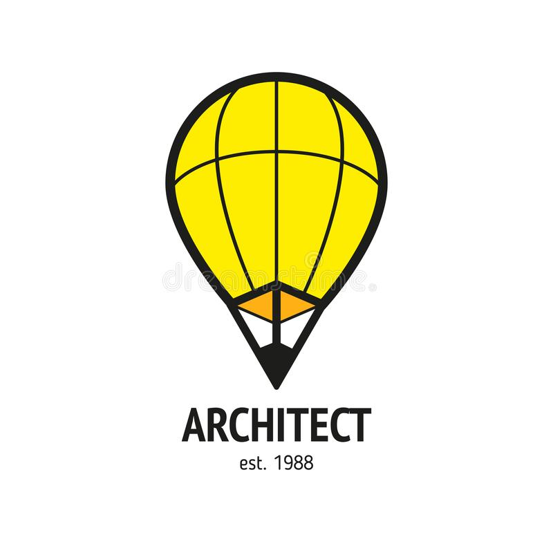 Signez le crayon de ballon, logo moderne pour des affaires illustration de vecteur