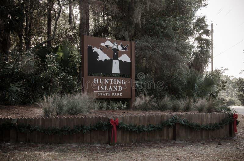 Signez pour chasser le parc d'état d'île en Caroline du Sud côtière images libres de droits