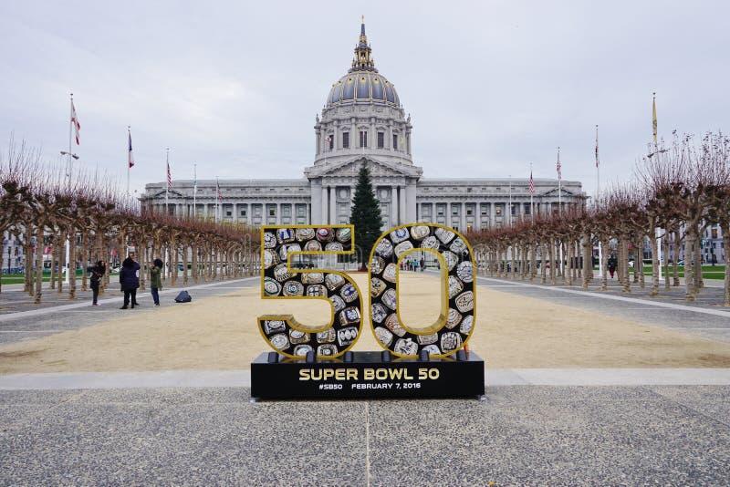 Signez pour le Super Bowl 50 2016 de NFL à tenir dans le San Francisco Bay Area image libre de droits