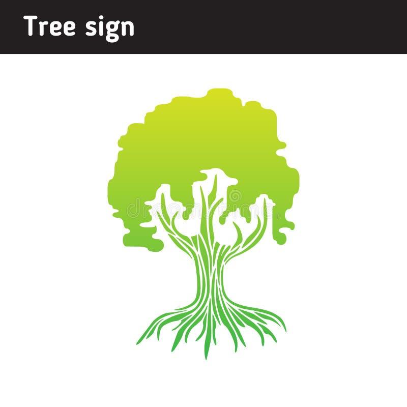 Signez sous forme d'arbre avec les racines et le feuillage illustration de vecteur