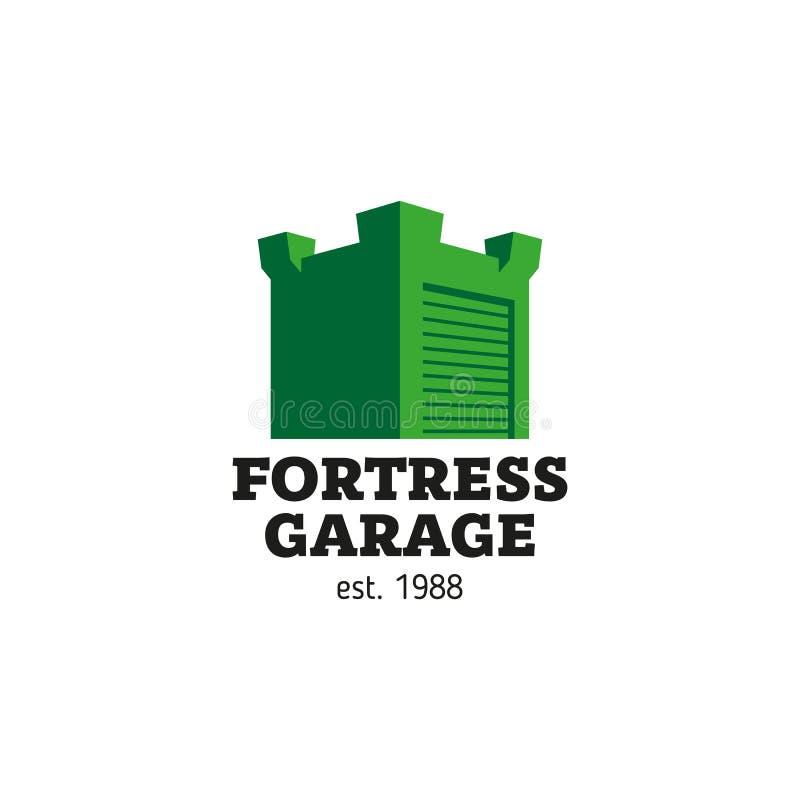 Signez sous forme de forteresse, de garage ou d'entrepôt, réparation de voiture illustration stock