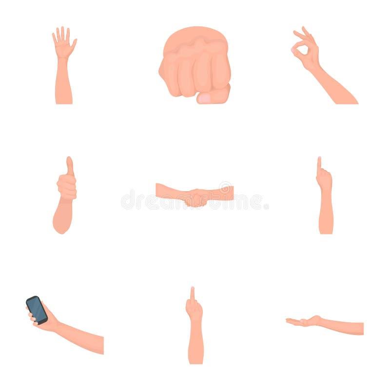 Significación de los iconos de la historieta de los gestos en la colección del sistema para el diseño La lengua de sordomudos vec stock de ilustración