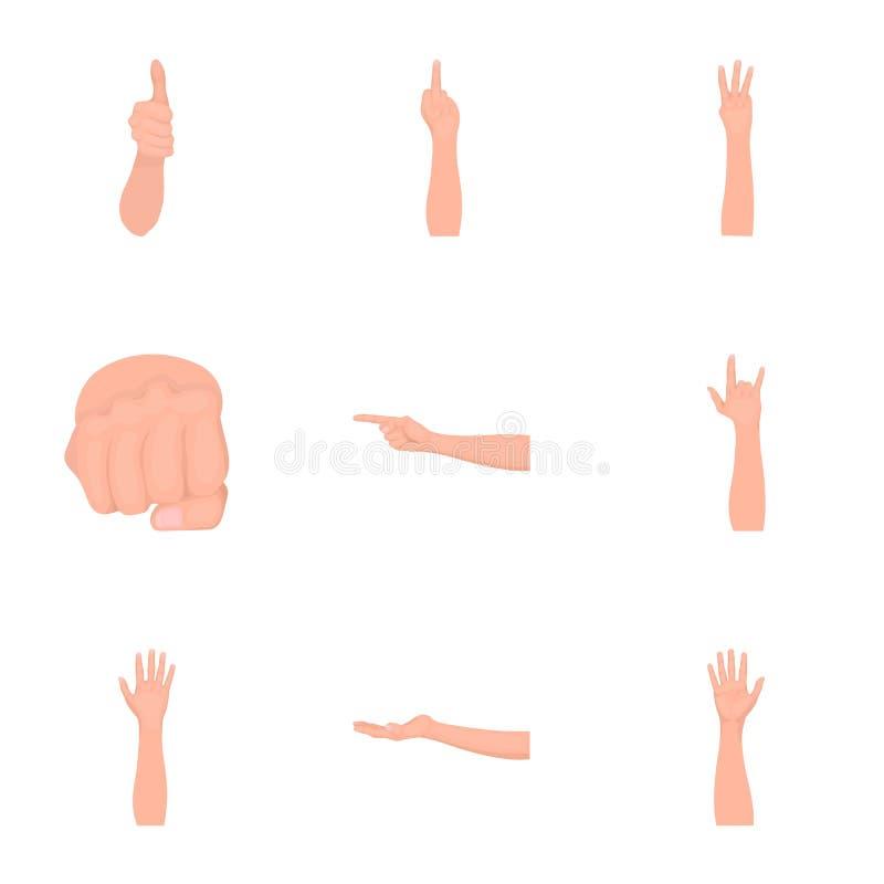 Significación de los iconos monocromáticos de los gestos en la colección del sistema para el diseño La lengua de sordomudos vecto libre illustration