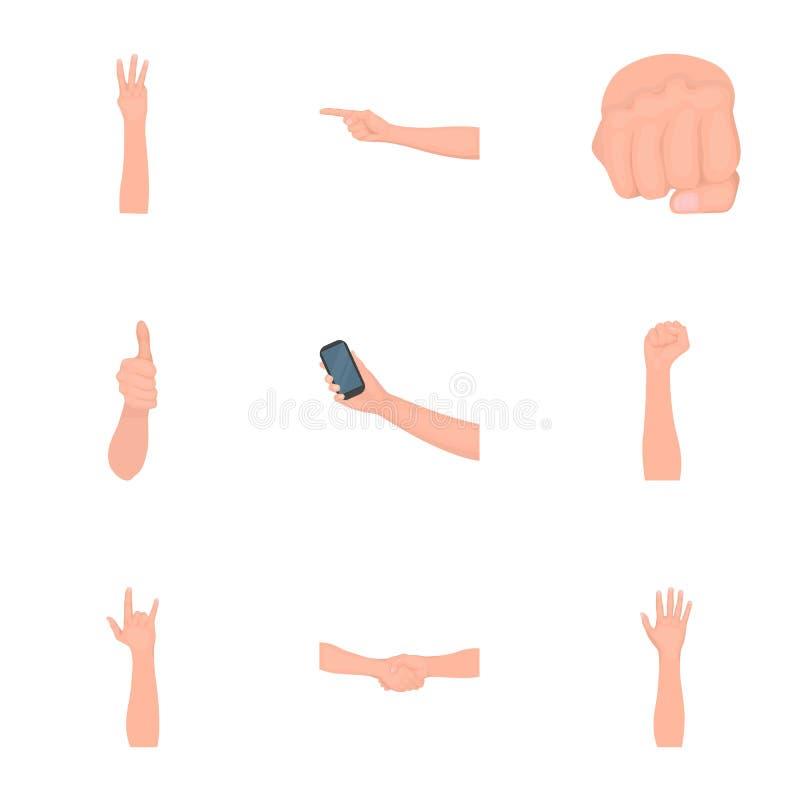 Significación de los iconos monocromáticos de los gestos en la colección del sistema para el diseño La lengua de sordomudos vecto stock de ilustración
