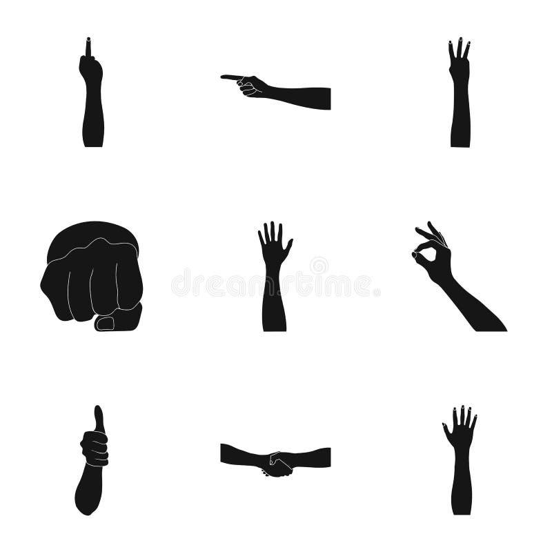 Significación de los iconos negros de los gestos en la colección del sistema para el diseño La lengua de sordomudos vector el web ilustración del vector