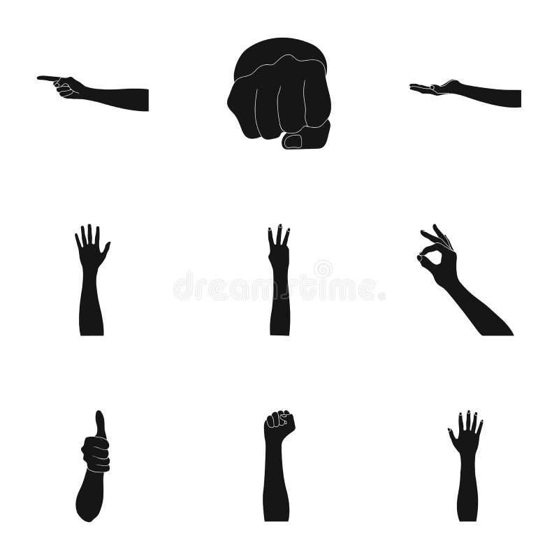 Significación de los iconos negros de los gestos en la colección del sistema para el diseño La lengua de sordomudos vector el web stock de ilustración