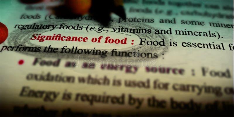 significación del texto biológico de los alimentos escrito sobre antecedentes abstractos fotos de archivo