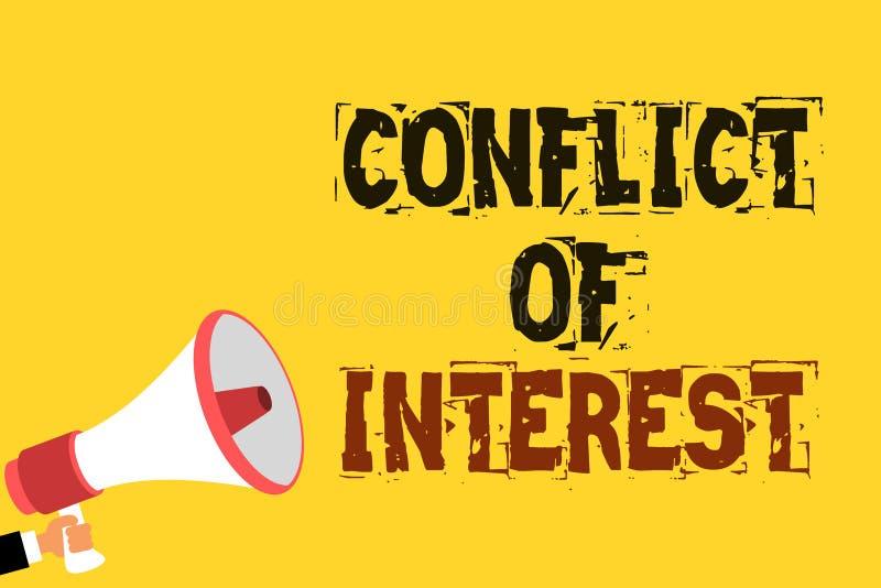 Significado do conceito do conflito de interesses da escrita do texto da escrita que discorda com o alguém sobre objetivos ou o n ilustração stock
