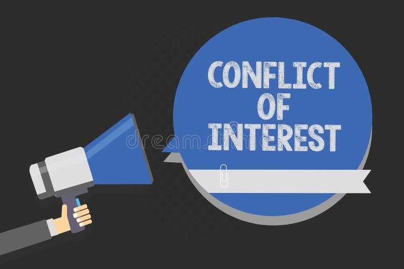 Significado do conceito do conflito de interesses da escrita do texto da escrita que discorda com o alguém sobre objetivos ou o s ilustração do vetor