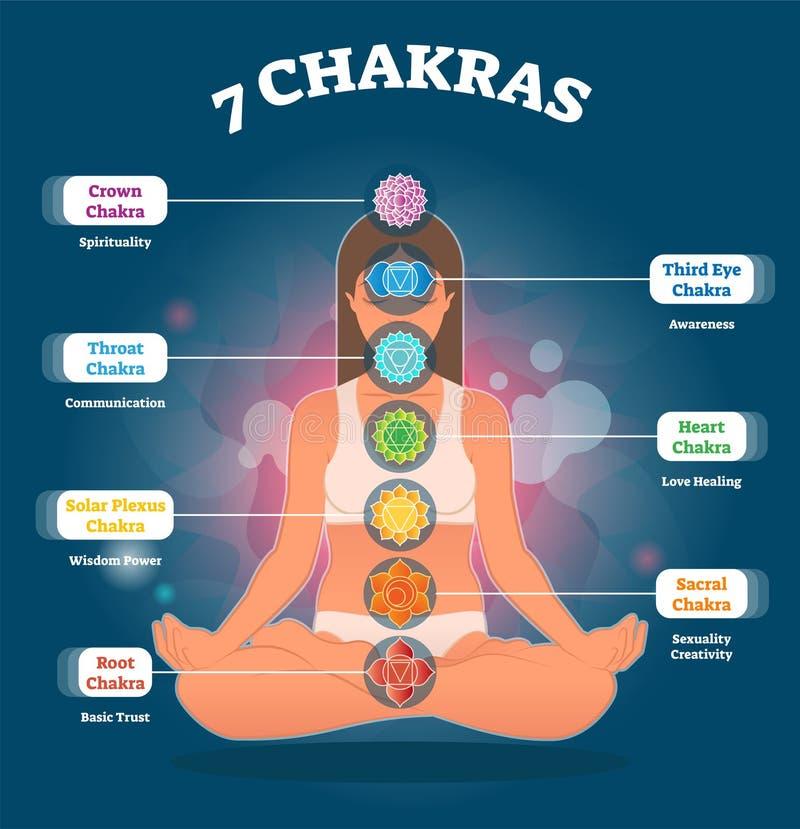 7 significados y símbolos, diagrama de Chakra del ejemplo del vector con la mujer en actitud del loto libre illustration