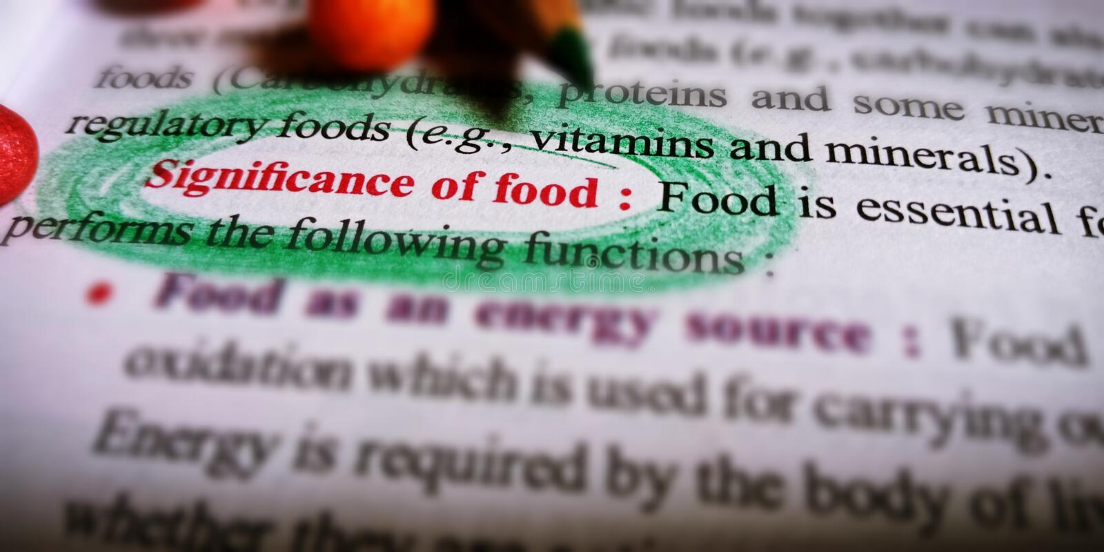 significance of food displayed on white paper sheet with highlights pattern stock image