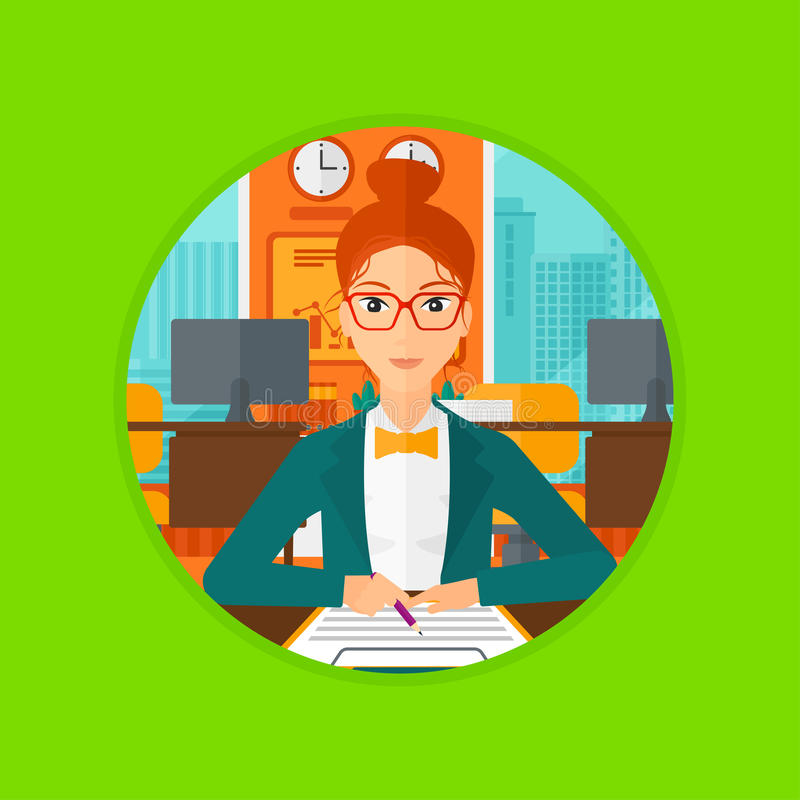 Signing of business contract. vector illustration