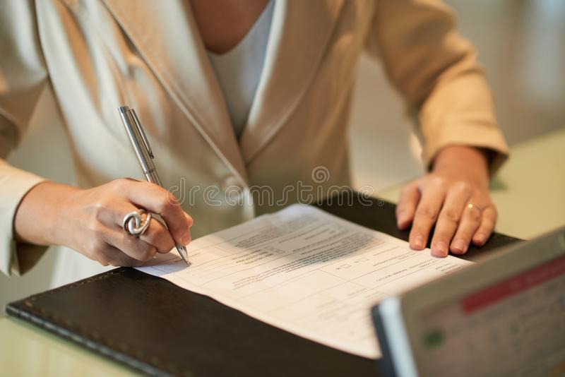 Signing business document royalty free stock photo