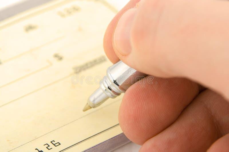 Signing check royalty free stock photos