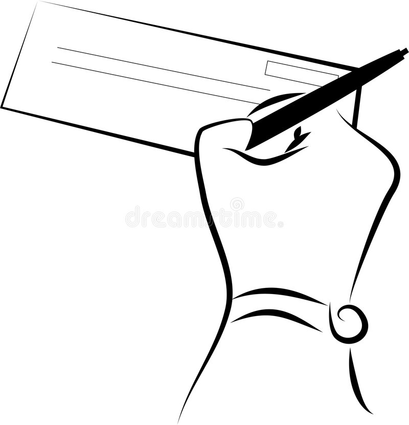 Signing a cheque. Hand signing a cheque - line drawing royalty free illustration