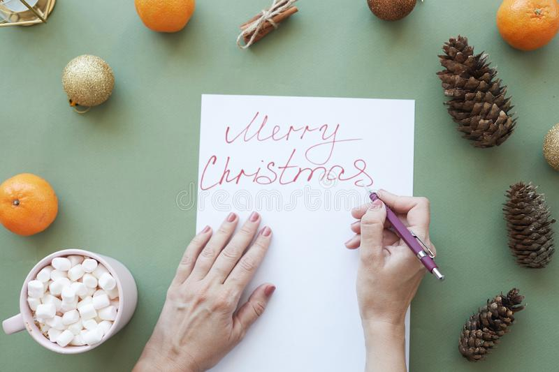 Signing Christmas card royalty free stock images