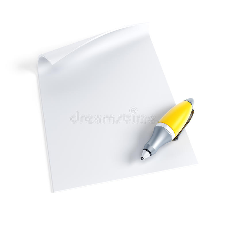 Signing contract. Isolated 3d render stock illustration