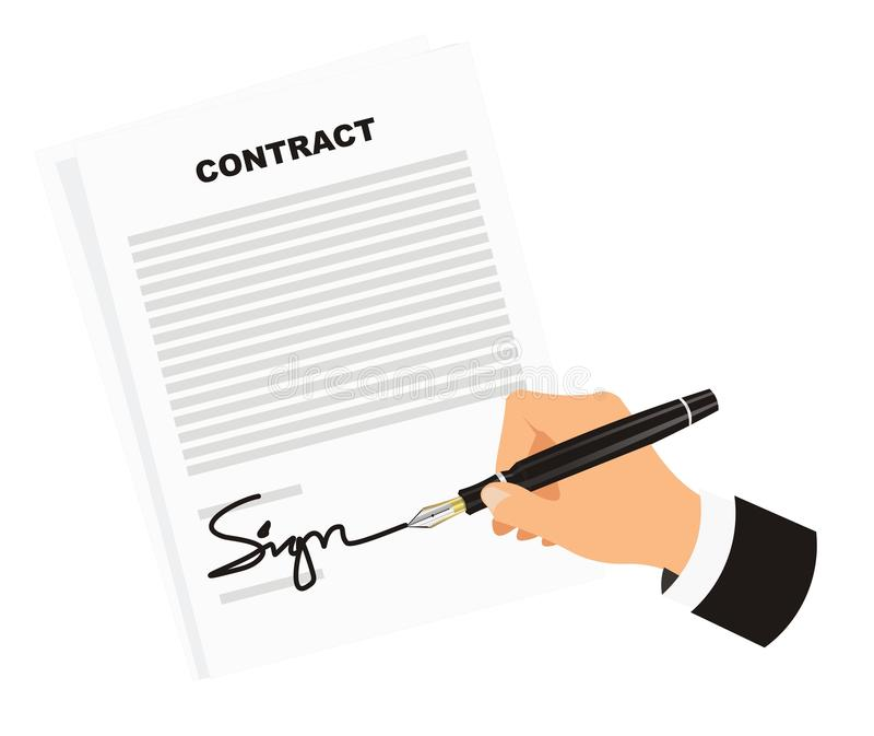 Signing Contract for Business. Best time that every businessman waiting for is a signing contract agreement stock illustration
