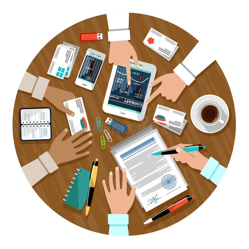 Signing a contract. Business meeting. Cooperation royalty free illustration