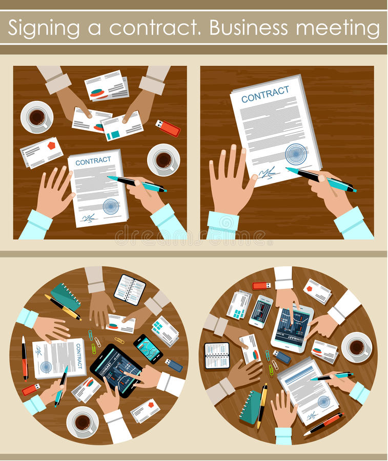 Signing a contract. Business meeting. Image of the signing of the contract for a business meeting. Vector illustration vector illustration