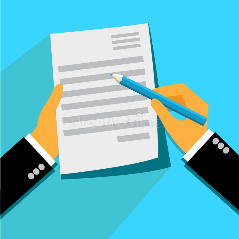 Signing, contract, form, flat, illustration. Signing contract concept in flat style royalty free illustration