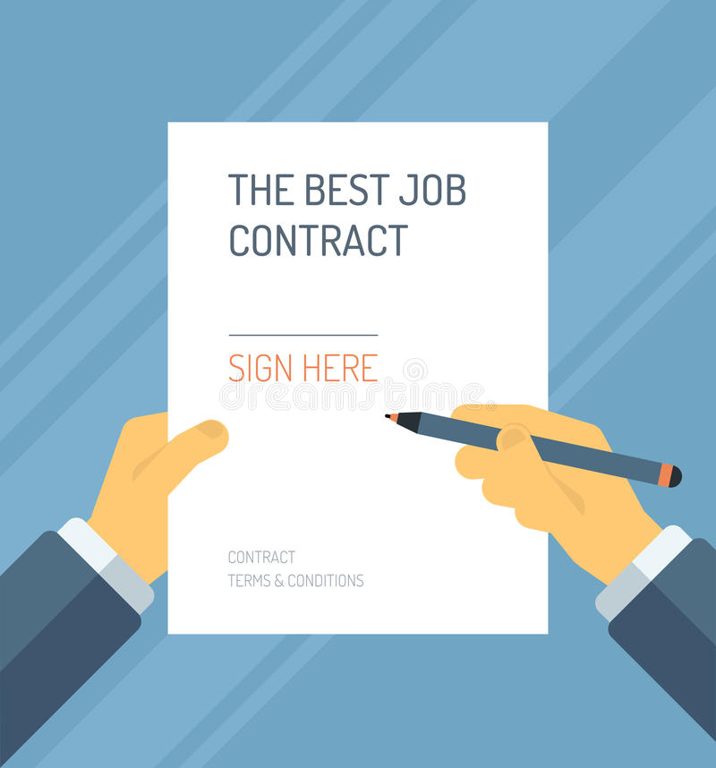 Signing A Contract Form Flat Illustration Stock Vector