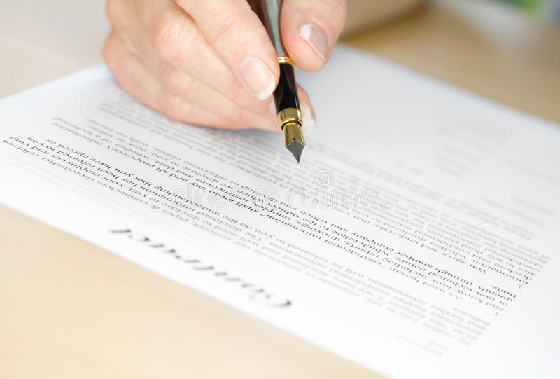 Signing a Contract with Fountain Pen