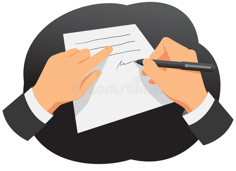 Signing the contract. Hands of businessman are signing the contract royalty free illustration