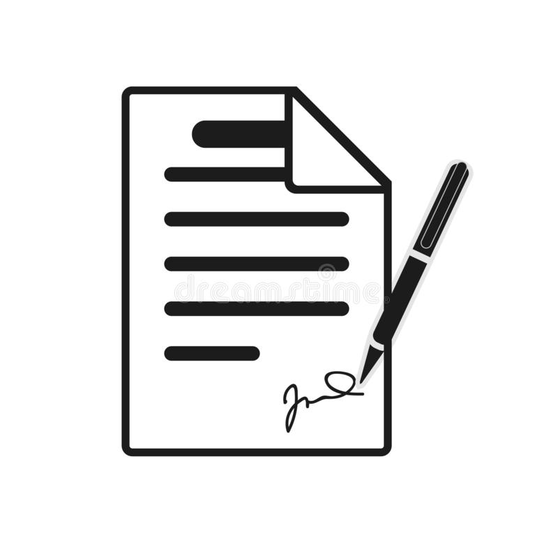 Signing contract icon. Report, letter, will. Deal concept. Can be used for topics like business, education, correspondence royalty free illustration