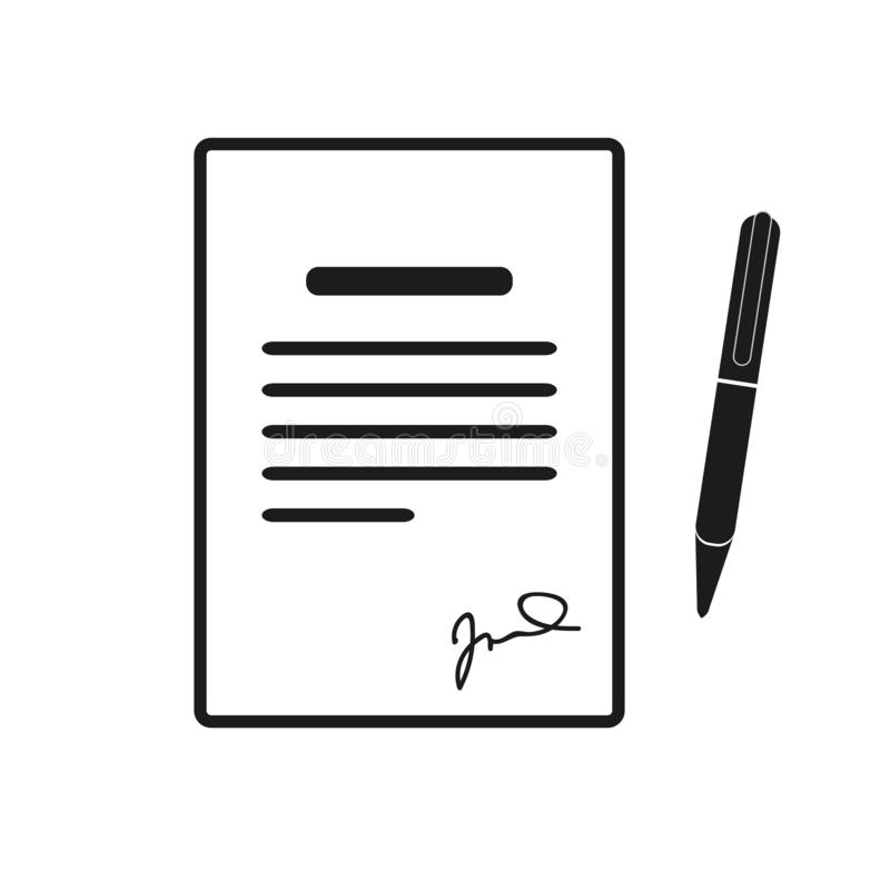 Signing contract icon. Report, letter, will. Deal concept. Can be used for topics like business, education, correspondence stock illustration