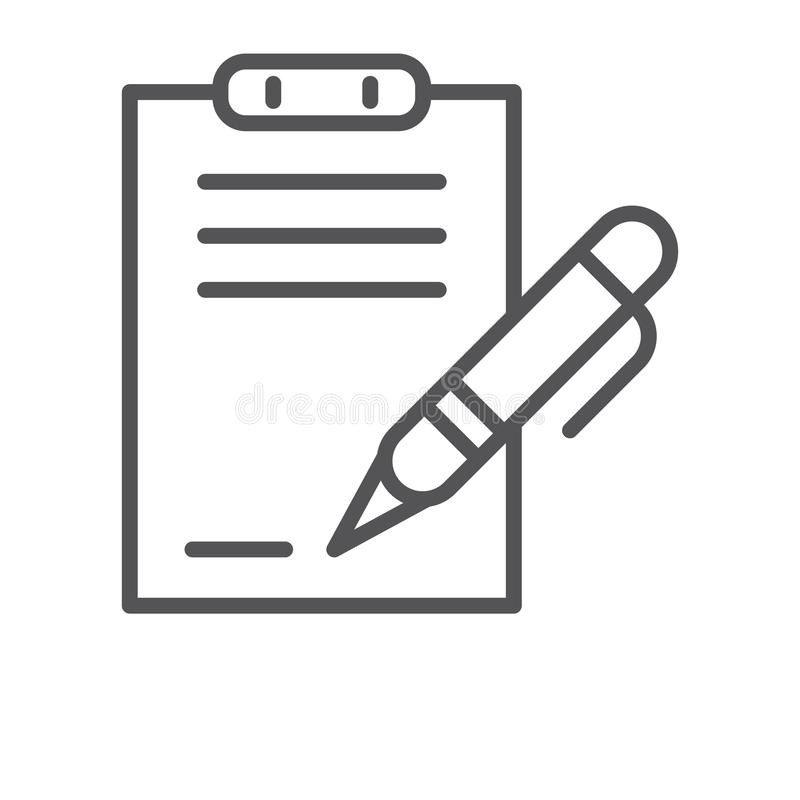 signing a contract icon vector sign and symbol isolated on white