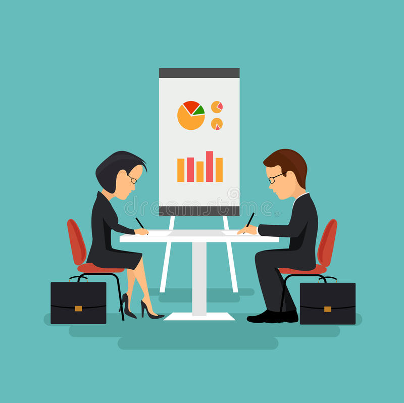 The signing of the contract, illustration in flat style. On the image is presented The signing of the contract, illustration in flat style royalty free illustration