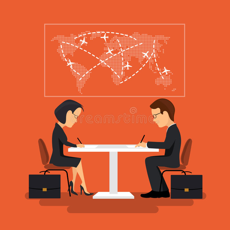 The signing of the contract, illustration in flat style. On the image is presented The signing of the contract, illustration in flat style vector illustration