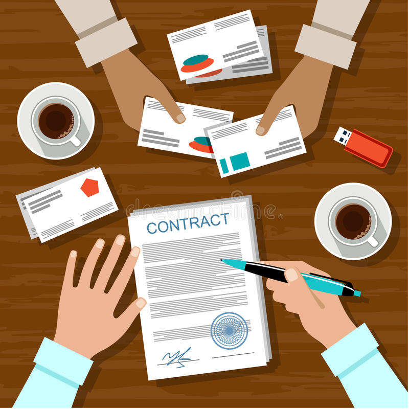 Signing a contract. Image of the signing of the contract for a business meeting vector illustration
