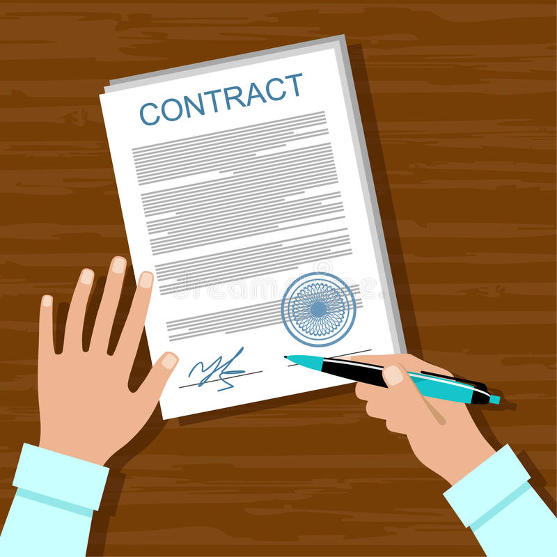 Signing a contract. royalty free illustration