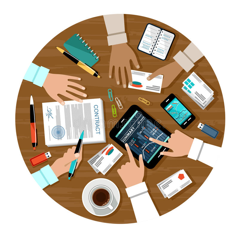 Signing a contract. Image of the signing of the contract for a business meeting stock illustration